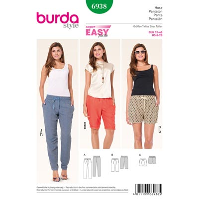 Gummizughose | Bermudas | Shorts, Burda 6938 | 32 - 46