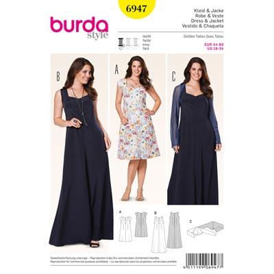 Kleid | Bolero, Burda 6947 | 44 - 60
