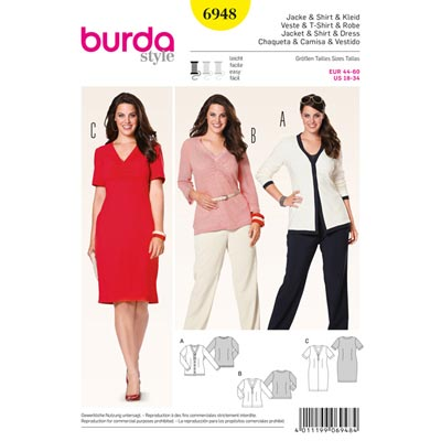 Cardigan | Shirt | Kleid, Burda 6948 | 44 - 60