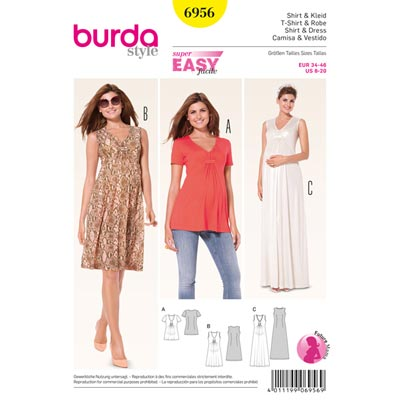 Umstandsmodell: Kleid | Shirt, Burda 6956 | 34 - 46