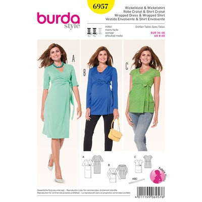 Umstandsmodell: Wickelkleid | -shirt, Burda 6957 | 34 - 46