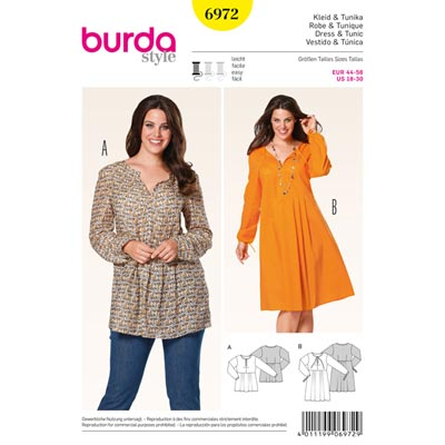 Plus Size - Kleid | Tunika, Burda 6972 | 44 - 56
