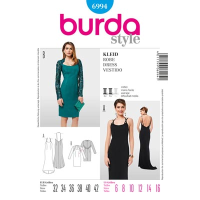Abendkleid | Cocktailkleid, Burda 6994 | 32 - 42