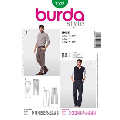 Herrenhose mit Bundfalte, Burda 7022 | 44 - 60