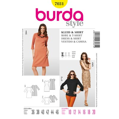 Spitzenkleid | Shirt, Burda 7031 | 36 - 46