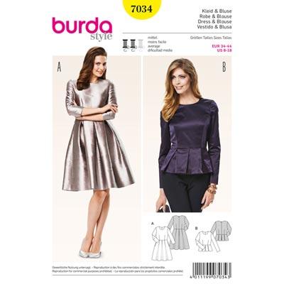 Kleid | Bluse, Burda 7034 | 34 - 44