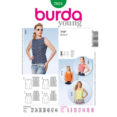 Top, Burda 7051 | 32 - 44