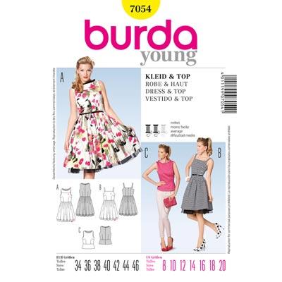 Kleid, Burda 7054 | 34 - 46