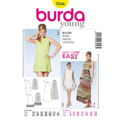 Kleid, Burda, 7056 | 32 - 44