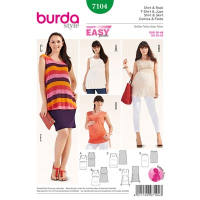 Umstandsmode: Rock | Shirt, Burda 7104 | 36 - 48
