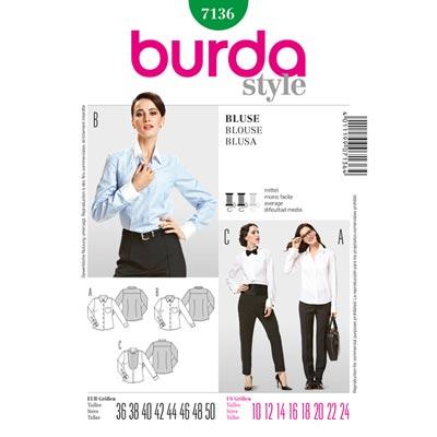 Bluse | Hemdbluse, Burda 7136 | 36 - 50