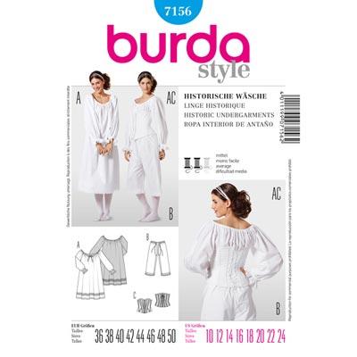 Historische Wäsche: Hemd/ Hose/ Mieder, Burda 7156