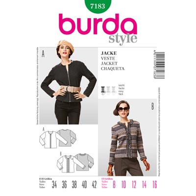 Jacke, Burda 7183 | 34 - 42