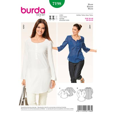 Bluse, Burda 7198 | 36 - 48