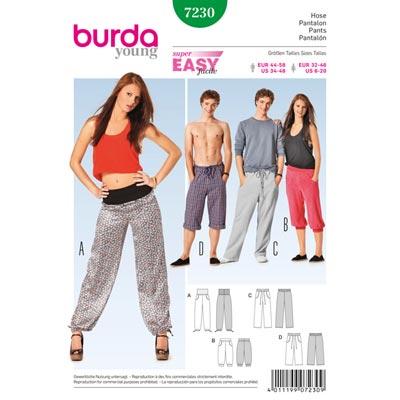 Freizeithose für Sie und Ihn, Burda 7230 | 32 - 58