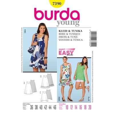 Sommer-Tunika | Trägerkleid, Burda 7390 | 36 - 46