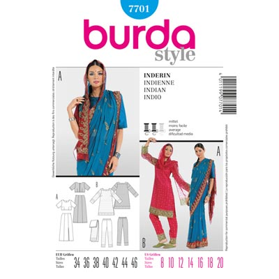 Indische Tracht: Sari / Tunika / Hose, Burda 7701