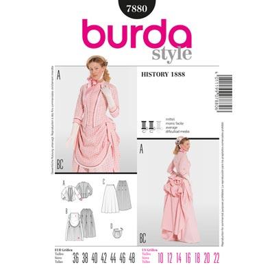 Wilhelminisches Kleid - 19 Jhdt., Burda 7880 | 36 - 48