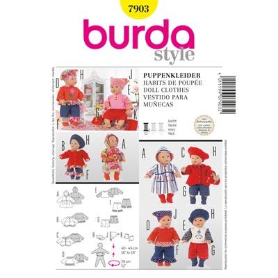 Puppenkleider, Burda 7903 | 40 - 45cm