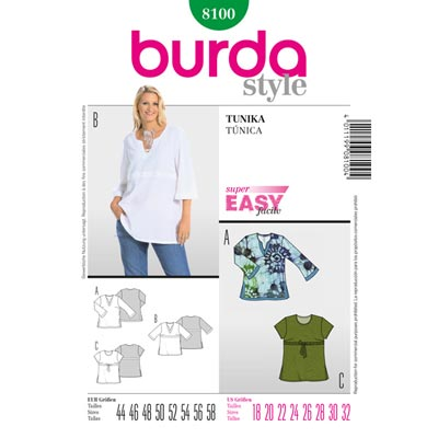 Plus Size - Tunika, Burda 8100 | 44– - 58