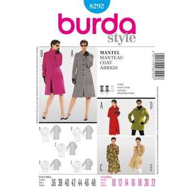 Mantel, Burda 8292 | 36 - 48