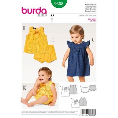 Babykleid | Bluse | Höschen, Burda 9358 | 62 - 92