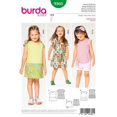Kinderkleid | Bluse | Rock, Burda 9360 | 92 - 122