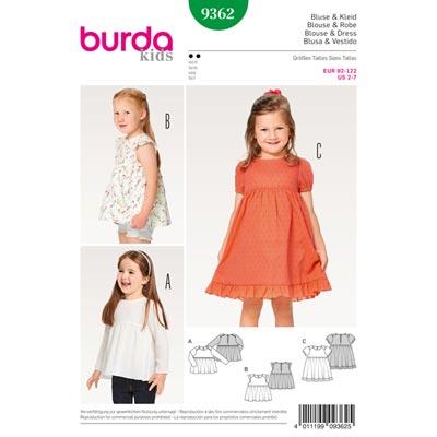 Kinderbluse | Kleid, Burda 9362 | 92 - 122