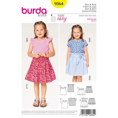 Kindershirt | Rock, Burda 9364 | 92 - 122