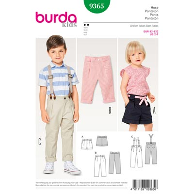 Kinderhose | Short, Burda 9365 | 92 - 122