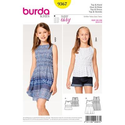 Mädchenkleid | Top, Burda 9367 | 116 - 158