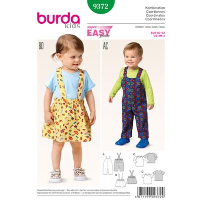 Baby-Kombination, Burda 9372 | 62 - 92
