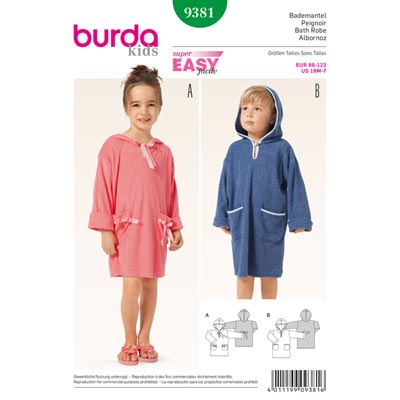 Bademantel, Burda 9381 | 86 - 122