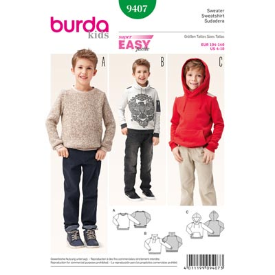 Sweater, Burda 9407 | 104 - 140