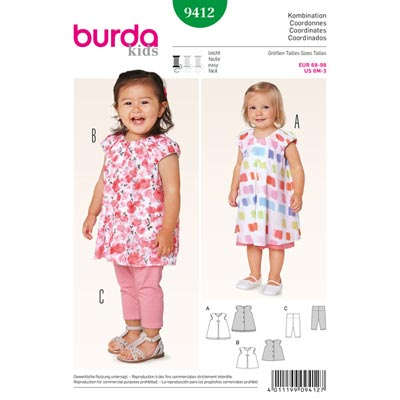 Kleid | Leggings, Burda 9412 | 68 - 98