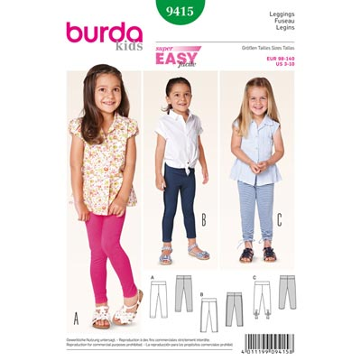 Leggings, Burda 9415 | 98 - 140