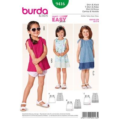 Shirt | Kleid, Burda 9416 | 92 - 128