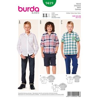 Hemd, Burda 9419 | 122 - 158