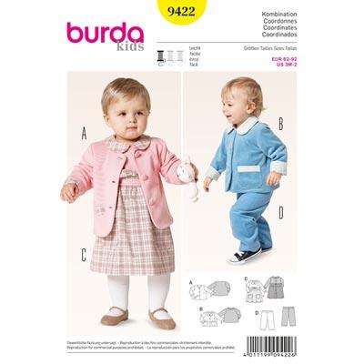 Jacke | Kleid | Gummizughose, Burda 9422 | 62 - 92