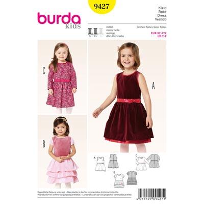 Kleid mit eingereihter Rock | Stufenrock, Burda | 92 - 122
