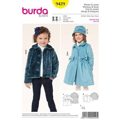Mantel | Jacke mit Bubikragen | Hut, Burda 9429 | 92 - 128