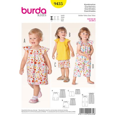 Babykleid / Top / Hose / Overall, Burda 9435