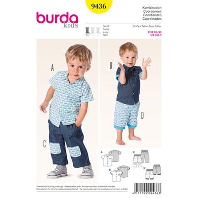 Babyhemd | Hose, Burda 9436 | 68 - 98