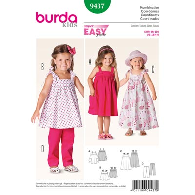 Mädchen - Trägerkleid | Hose, Burda 9437 | 86 - 116