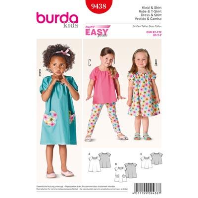 Kleid | Shirt, Burda 9438 | 92 - 122