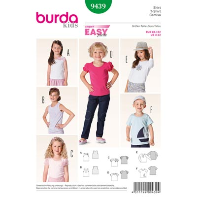 T-Shirt | Top, Burda 9439 | 98 - 152