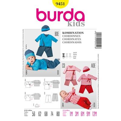Baby– Wickelshirt | Gummizughose | Mütze, Burda 9451 | 56 - 80