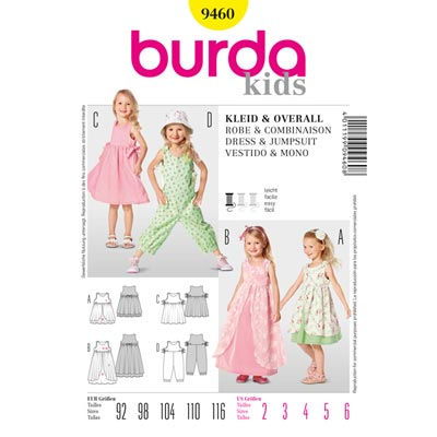 Kinderkleid | Überrock | Overall, Burda 9460 | 92 - 116