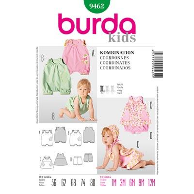 Baby Overall | Kleid | Höschen, Burda 9462 | 56 - 80