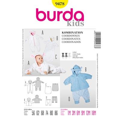 Baby Overall | Jacke | Fußsack | Hose, Burda 9478 | 56 - 86